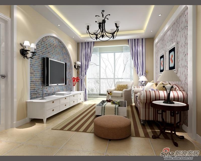 典型地中海拱形电视墙造型,再加入马赛克拼花,花式吊灯及壁灯,