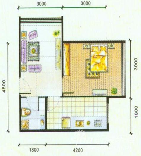 室一厅一卫48平米户型图