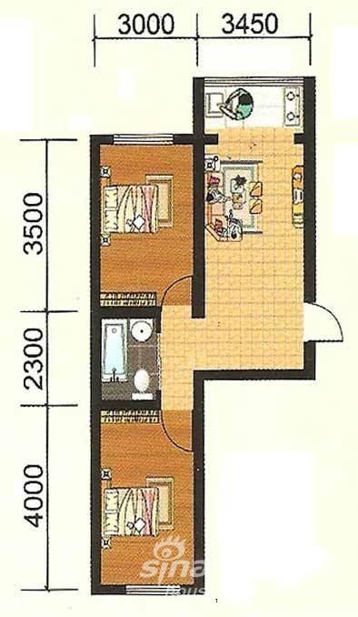 隆泰碧水山城g2户型60-65平米两室一厅一卫户型图图片