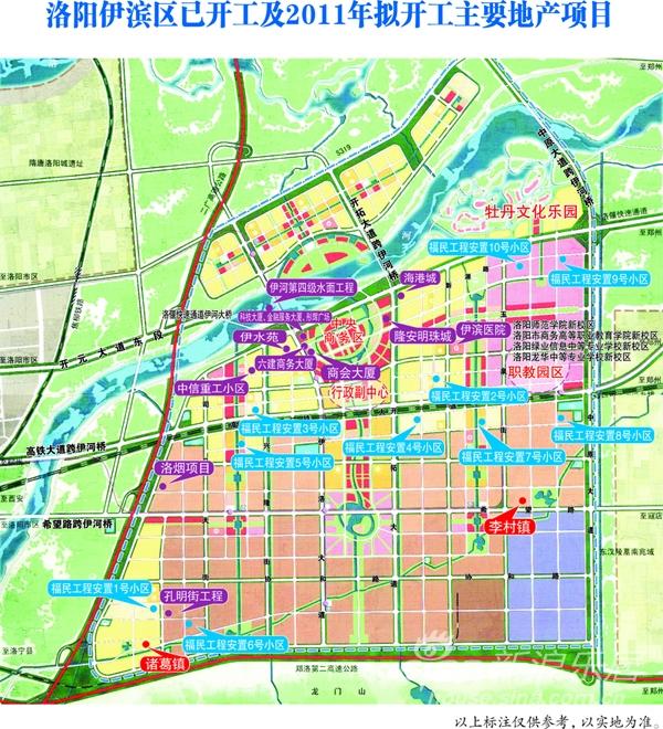 洛阳伊滨新区已开工及2011年拟开工主要地产项目