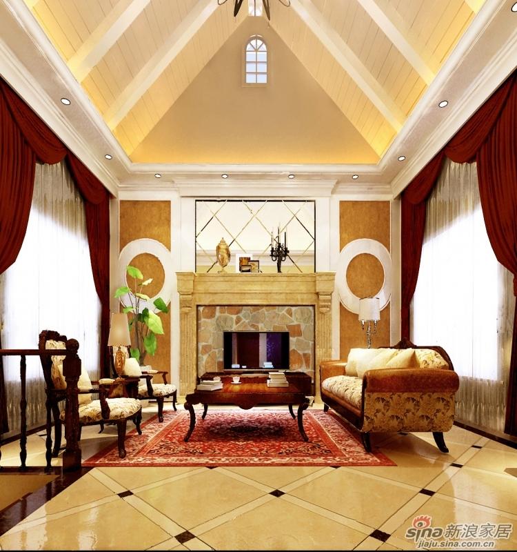 首先客厅顶部采纳了原有的斜顶设计风格,赋予木梁和桑拿板,石膏线等图片