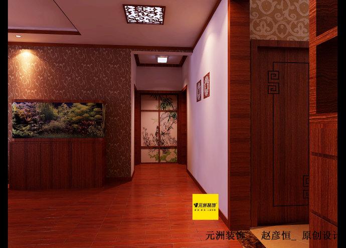 168平米简约中式装修设计效果图案例高清图片