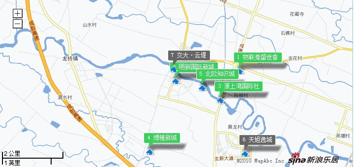 上湾国际社区、博雅新城、物联港盛世香等 -看下地图 明新国际新城