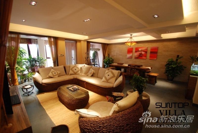 水湖滨花园别墅东南亚风格装修实景图片