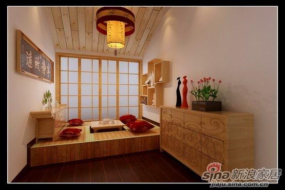 轻浮.窗棂实木顶角线的运用使空间尽显中式的文化内涵.高清图片