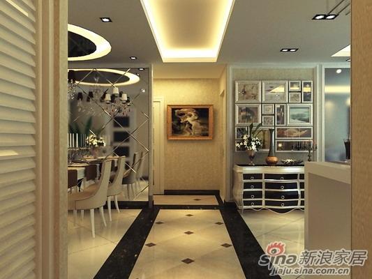 玄关设计-地面瓷砖菱形拼贴效果图片