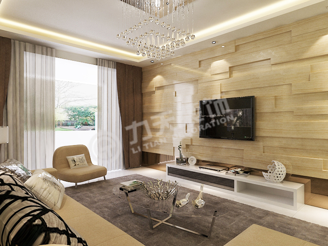 客厅设计 电视背景墙以凹凸感十足的木条拼接设计,搭配彰显高清图片