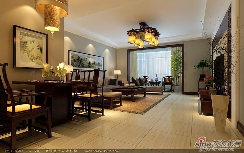 新中式风格餐厅装修效果图-退休夫妇花8.2万打造大气稳重120平米新高清图片