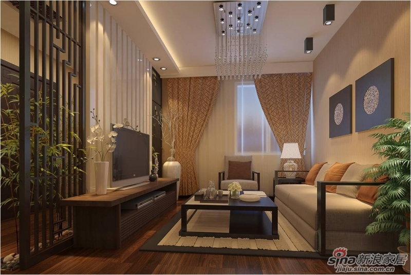 京铁和园12户型60平米一居室现代中式客厅装修效果图