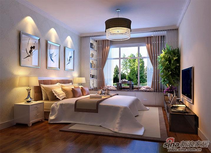 主卧室作为业主主要的休息空间,没有过多的造型装饰,床头背高清图片
