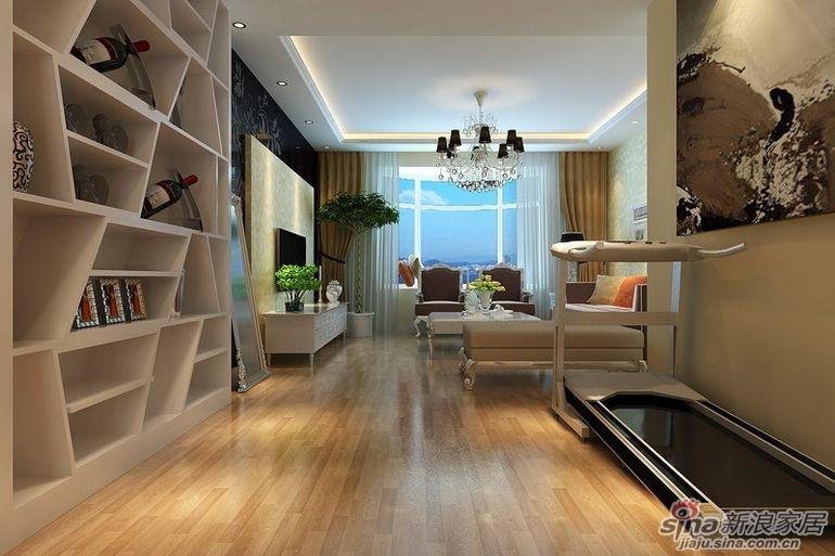 绿地中央广场140平四居室装修设计 现代欧式温馨家高清图片
