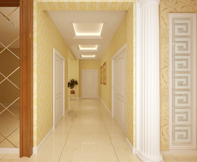 140平欧式奢华风格,吊顶与墙纸的完美搭配