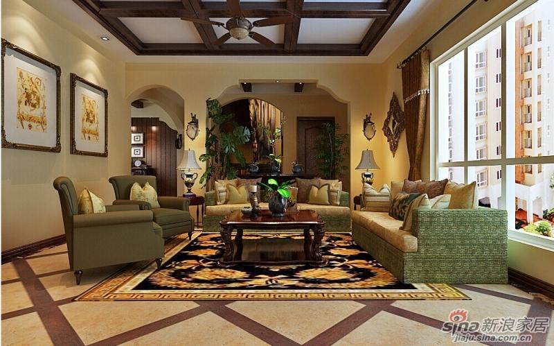沙发背景墙是拱形造型的重复运用,仿佛在走动观赏中,空间出现延伸般的图片