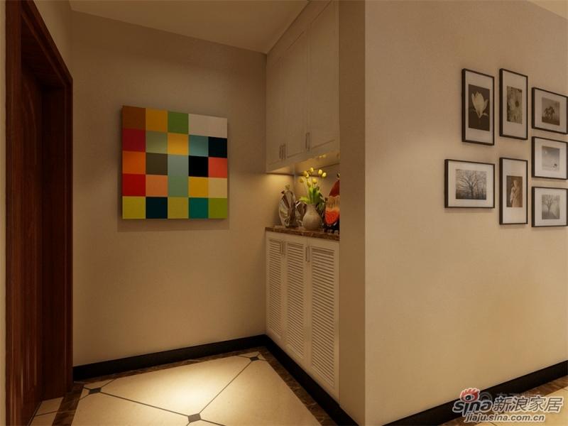 实用的鞋柜,拼接的地砖,简单的装饰画,把玄关区装饰的如此实高清图片