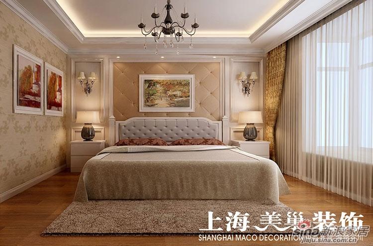 床头背景通过护墙板和软包的结合图片