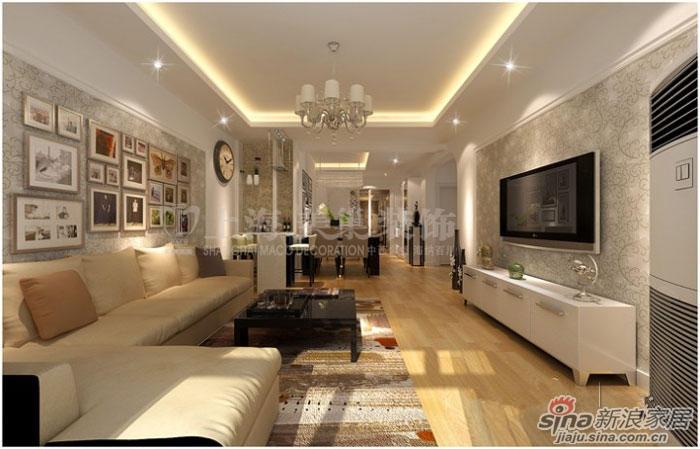 中原新城小区93平三室两厅现代简约风格装修案例高清图片