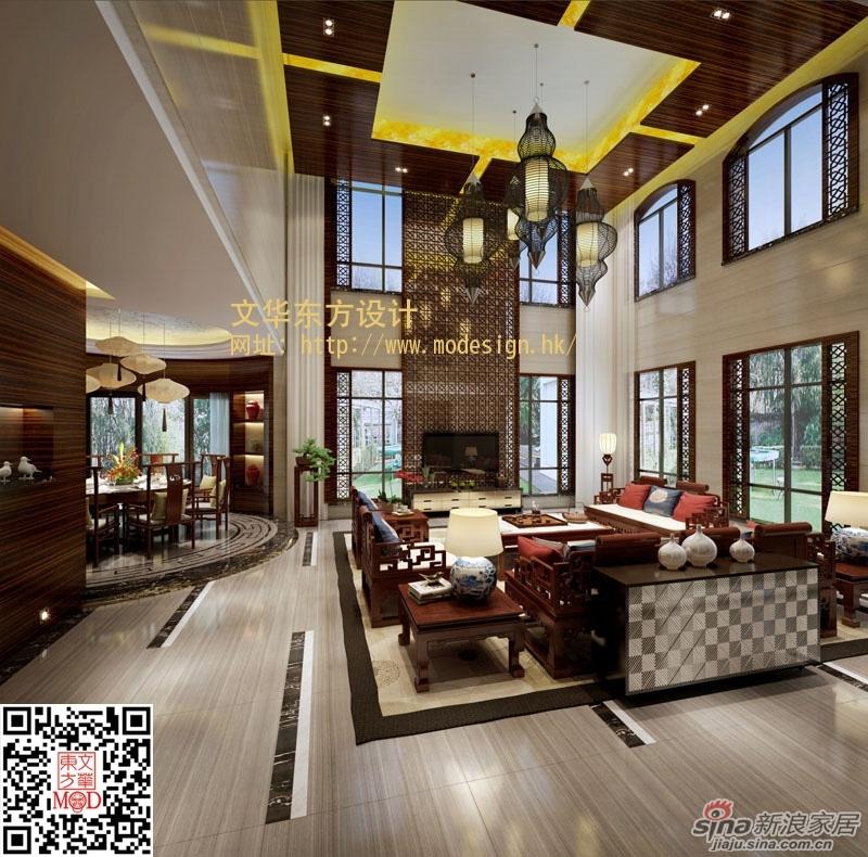 蓝山锦湾别墅样板房设计 新中式风格高清图片