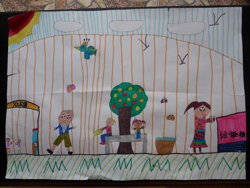 低碳环保儿童画作展示