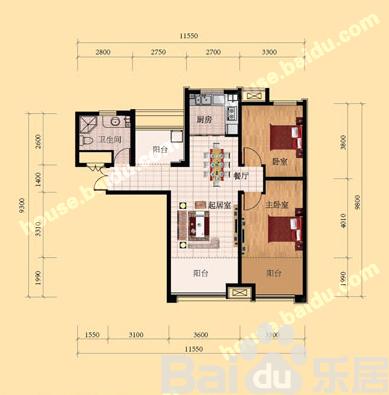 济南鲁能领秀城 户型面积: 102平方米居室: 二室二厅一卫-济南鲁能