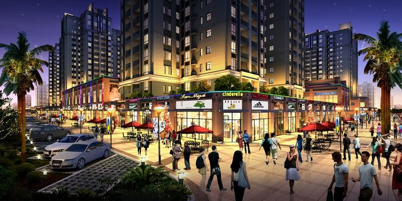 图为:中骏四季阳光商业街效果图图片