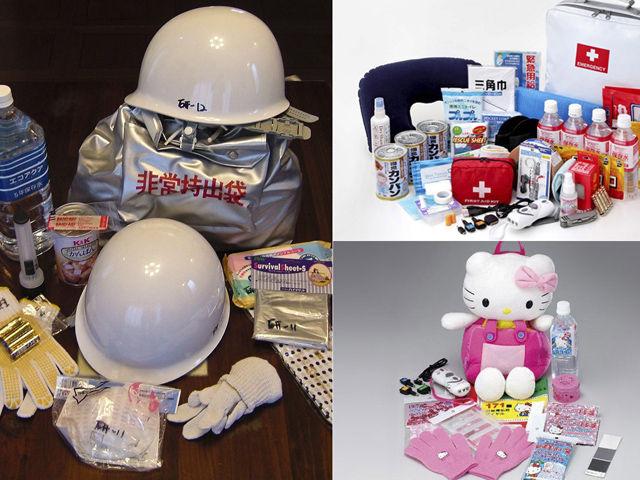 日本民众在各种防震演习中培养了安全防范意识,有商家推出HelloKitty急救包以备儿童使用,急救包内有少量饮用水、食品、手套等物品,更专业的急救包还会有头盔、半导体、呼救设备等。